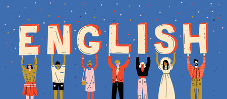 Diverse people holding letters word English. Learn foreign language.