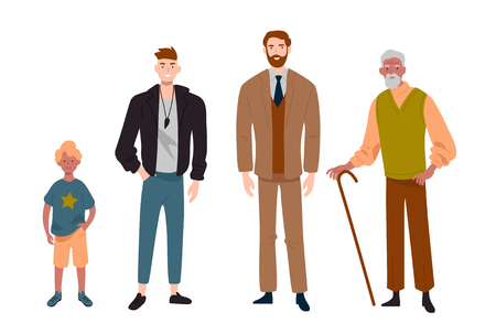 Men. Different ages.Child, teenager, adult and elderly person. Generation of people, family, male line. Vectores