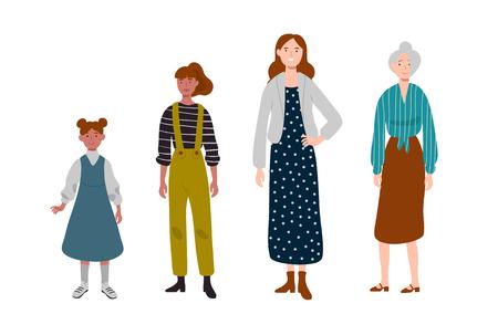 Mujeres. Diferentes edades. Generación de personas, familia, línea femenina.