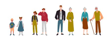 Couples de personnes. Enfants, enfants, frère, sœur, petits-enfants, grands-parents. Vecteurs