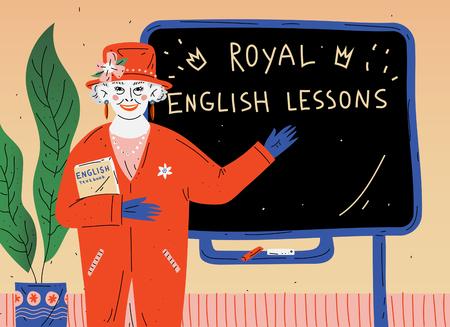 English Lesson. Portrait of teacher near blackboard in classroom Illustration