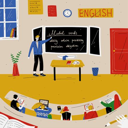 English Lesson. Teacher near blackboard in classroom