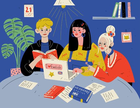 Learn English. Students studying with books. Group of people in classroom Illustration