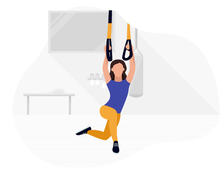Fit woman working out on  doing bodyweight exercises. Fitness strength training workout.