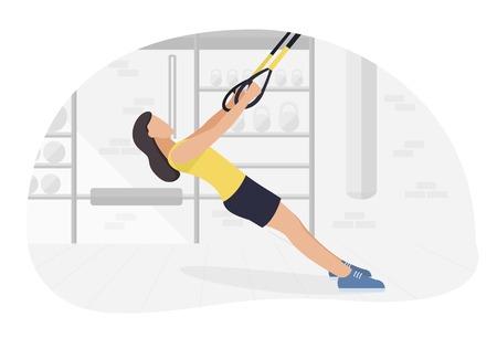 Colocar mujer trabajando en hacer ejercicios de peso corporal. Entrenamiento de entrenamiento de fuerza fitness. Ilustración de vector