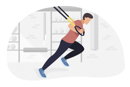 Fit man working out on  doing bodyweight exercises. Fitness strength training workout. Illustration