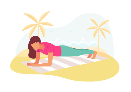 Couple doing plank exercise core workout together outdoors.  イラスト・ベクター素材
