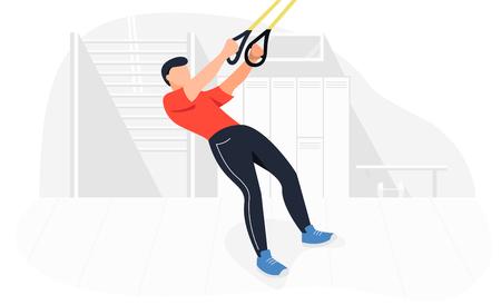 Fitter Mann, der an Körpergewichtsübungen arbeitet. Fitnesstraining Krafttraining. Vektorgrafik
