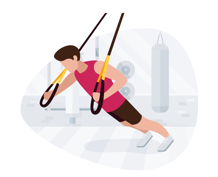 Fit man working out on  doing bodyweight exercises. Fitness strength training workout. Ilustração
