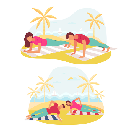 Couple doing plank exercise core workout together outdoors. 向量圖像