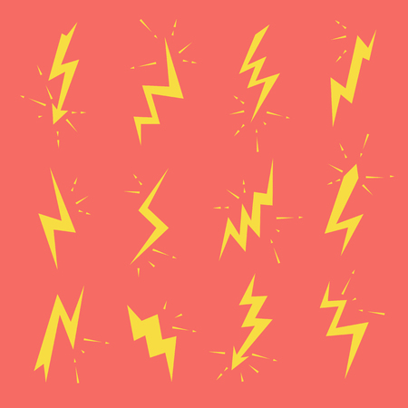 Set of Lightning bolts icons. Thunderbolts, voltage, electricity, flash and power signs 向量圖像