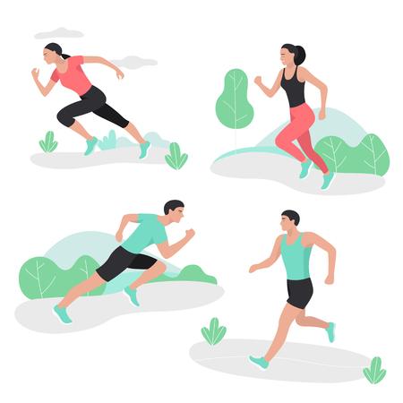 Menschen, die Sport-Sprint-Männer und -Frauen laufen lassen. Standard-Bild