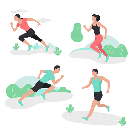 Osób prowadzących sport sprint mężczyzn i kobiet. Zdjęcie Seryjne