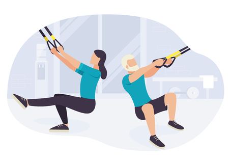 People working out on fitness training exercising