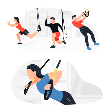 Fit people working out on  doing bodyweight exercises. Fitness strength training workout.