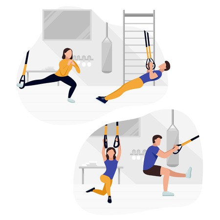 Fit people working out on  doing bodyweight exercises. Fitness strength training workout. Standard-Bild - 124622628
