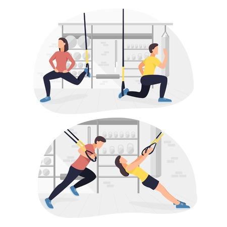 Fit les personnes qui s'entraînent à faire des exercices de poids corporel. Entraînement de musculation fitness.