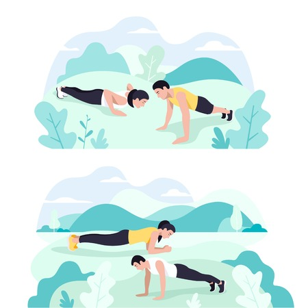 Couple doing plank exercise core workout together in park Foto de archivo - 130836671
