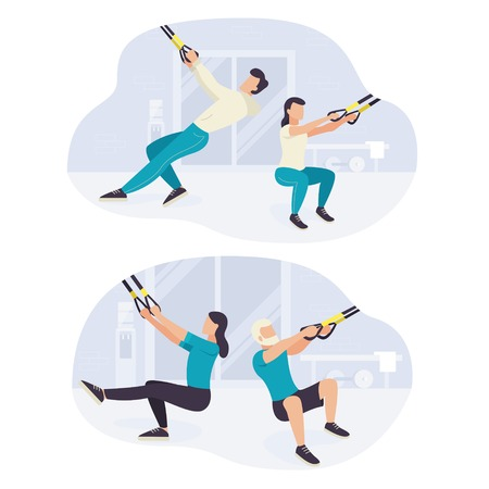 People working out on  fitness training exercising Illustration