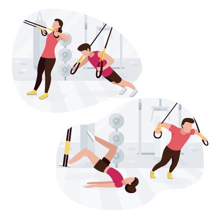 Personas en forma que se ejerciten haciendo ejercicios de peso corporal. Entrenamiento de entrenamiento de fuerza fitness. Ilustración de vector