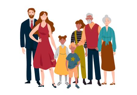 Retrato de familia numerosa. Madre, padre, hijos, abuela, abuelo.