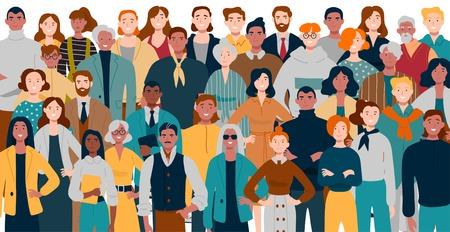 Retrato de equipo empresarial de pie juntos. Empresarios multirraciales Ilustración de vector