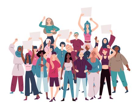 Multitud de mujeres manifestantes que protestaban por la igualdad y el empoderamiento de las mujeres.