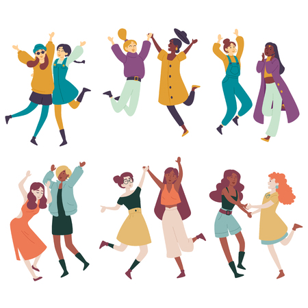 Diverse Frauen, die zusammen Spaß haben, multiethnische Frauen springen, tanzen Vektorgrafik