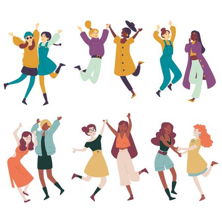Diverse women having fun together, multi ethnic females jumping, dancing Illustration