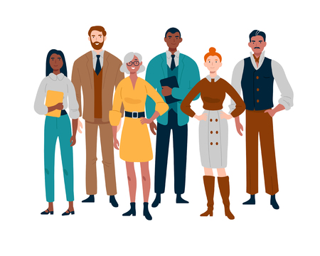 Ritratto di squadra di affari che sta insieme. Uomini d'affari multirazziali.