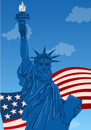 Close up of the statue of liberty, New York City Illustration