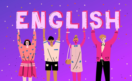 Diverse people holding letters word English. Learn language Illustration