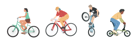 People riding bicycles of various types set, men, women and children on bikes.