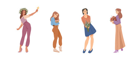 Beautiful women holding a bouquets of flowers in hands. Summer, mothers day, happy women s day. 8 March