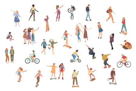 People. Summer outdoors activities. Walking, Riding bicycle, playing, skateboarding. Group of children, boys and girls, male and female cartoon characters.