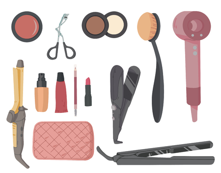 Make-up artist kit. Hair styling accessories set. Cosmetic products eye shadow, lipstick, powder Illustration