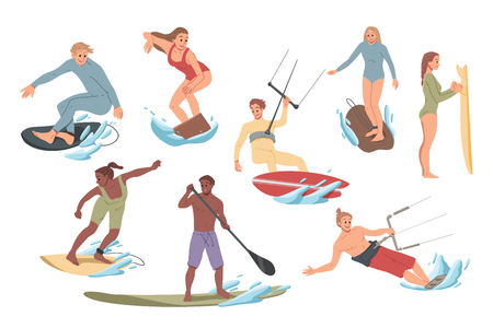 Set of people performing activities on the water surfing, riding. Summer leisure Illustration