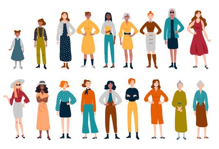 Women, many female characters of different ages Ilustração