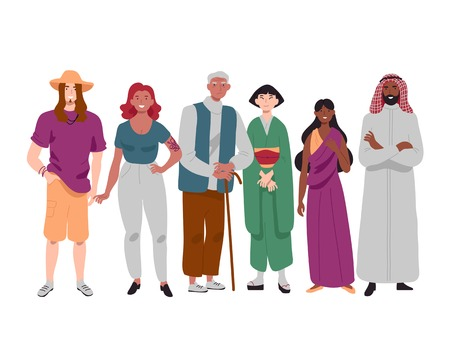 Group of diverse multi-ethnic people standing together. Illustration