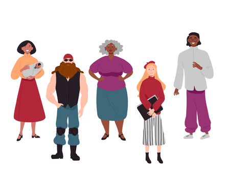 Diverse group of young people together portrait. Illustration