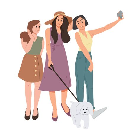 Group of three girls and dog taking a selfie. Female friends photographed together