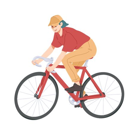 Woman riding bicycle, girl on bike vector. Stock Illustratie
