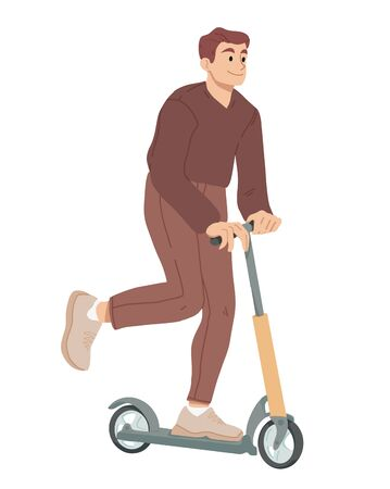 Man ride on scooter. Summer leisure activity Vector