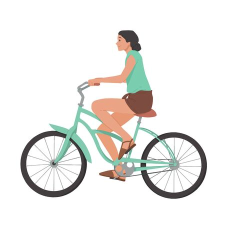 Girl riding bicycle, woman on bike vector Reklamní fotografie - 124527654