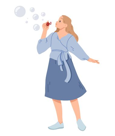 Young woman blowing soap bubbles Vector illustration