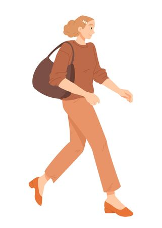 Young woman walking vector illustration