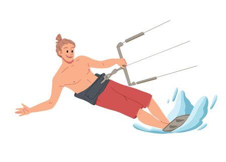 Homme surfant sur l'eau. Loisirs d'été Vecteurs