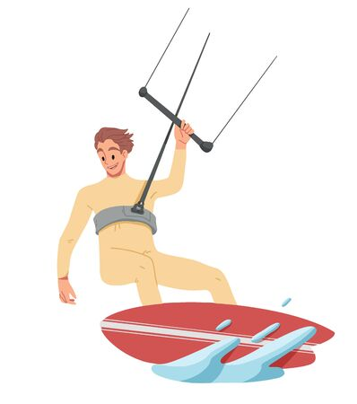 Man surfing, riding on the water. Summer leisure