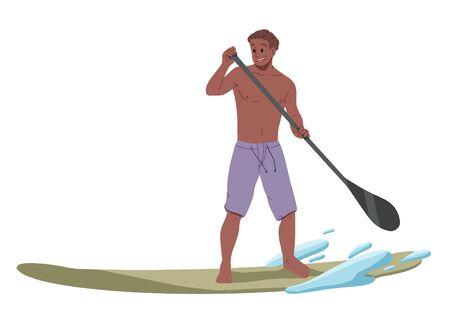 Man surfing, riding on the water. Summer leisure. Illustration