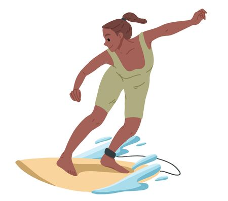 Girl surfing, riding on the water. Summer leisure Illustration